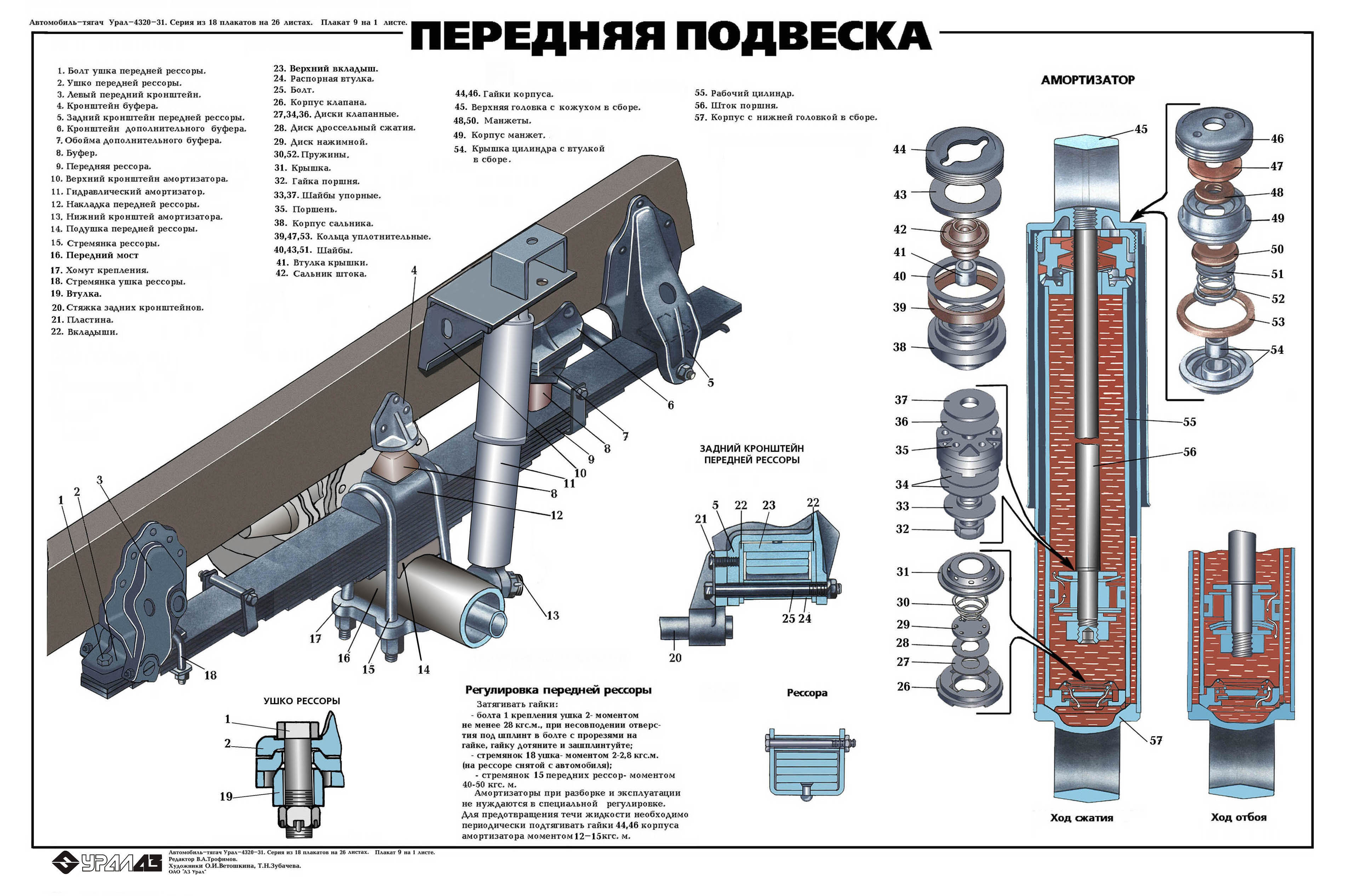 Плакаты по устройству автомобиля УРАЛ-4320.